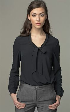 Ozsale - Long Sleeved Tie Detail Blouse Black - Ozsale.com.au