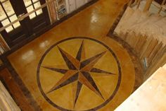 Concrete floor design as u enter Painting Concrete, Stained Concrete, Concrete Patio, Concrete Floors, Faux Painting, Cement, Flooring For Stairs, Patio Flooring, Stamped Concrete Designs