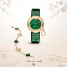 Van Cleef & Arpels new Charms watch and new Vintage Alhambra bracelet form a perfect harmony, the nuances of green are suggesting the vitality of nature and the constant renewal of flora.   #VCAalhambra