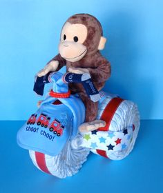 Curious George Tricycle  Diaper Tricycle  by PamperedBabyCreation, $80.00