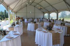 Wedding tables with burlap, plates, DIY/homemade decor