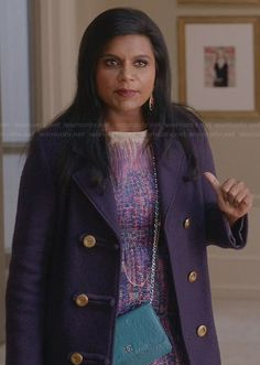 Mindy's purple tweed dress on The Mindy Project.  Outfit Details: http://wornontv.net/30349/ #TheMindyProject