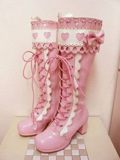 Cute pink and white lolita boots. Harajuku Fashion, Kawaii Fashion, Lolita Fashion, Pastel Fashion, Estilo Lolita, Kawaii Shoes, Kawaii Clothes, Cute Shoes, Me Too Shoes
