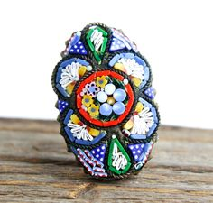 Antique Micro Mosaic Flower Brooch Pin - Italian Glass