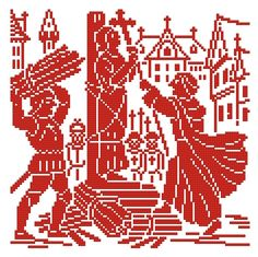 Scenes in the life of Joan of Arc - Panel IV | Chart for cross stitch or filet crochet.