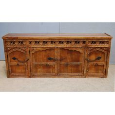 Solid Wood Hand Carved Sideboard Buffet w Wrought Iron Hardware