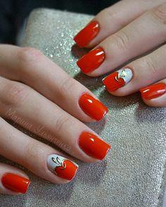Accurate nails, August nails 2016, Beautiful nails 2016, Bold nails, Bright shellac, Gold casting nails design, Juicy nails, Passionate nails