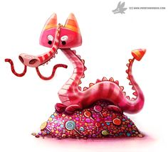 Daily Painting #932. Candy Dragon by Cryptid-Creations.deviantart.com on @DeviantArt