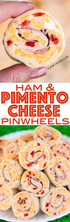 Ham & Pimento Cheese Pinwheels - I am ADDICTED to these sandwiches! Cream cheese, cheddar, parmesan cheese, garlic salt, pimentos, mayonnaise and ham wrapped in a tortilla. Can make ahead of time and refrigerate until ready to eat. Perfect for parties and tailgating!! A MUST for watching The Masters!