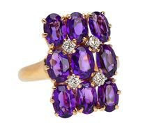 The Shape of Things to Come - Amethyst Ring  US$ 1,250-circa 1980-Bursting with color and pattern, this vintage ring utilizes amethysts of exceptional hue and saturation. Nine is the number and they add up to a mouthwatering 3.15 carats.