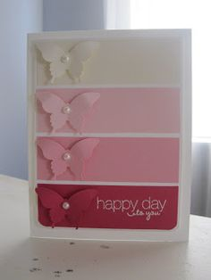 """Here are the measurements for the paint chip card  *Whisper White ~ 1 piece 5 1/2"""" x 8 1/2"""" folded in half will be the card base and 1 piece 3 3/4"""" x 5"""" glue *paint chips* to piece with spaces in between each to look like paint chip  *Very Vanilla, Pink Pirouette, Pretty in Pink, Melon Mambo ~ 3 5/8"""" x 1 1/8"""" will need 1 piece of each color to create paint chip look then scraps of each to punch butterfly   Sweet & Korny Stuff: July 2012"""