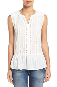 Caslon® Lace Trim Sleeveless Ruffle Hem Blouse (Regular & Petite)