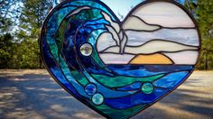 Stained Glass Wave at Sunset Heart Shaped by PixieDustGlassStudio