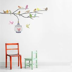 bedrooms with birds | Room with Birds on the Branch Wall Stickers Spice up the Kids Bedroom ...