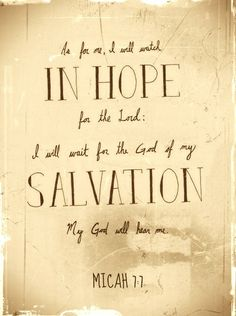 Therefore I will look to the Lord; I will wait for the God of my salvation; my God will hear me. (Micah 7:7)
