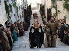 Duncan Muggoch, line producer for scenes shot in Spain and Croatia, says it is sometimes hard to film around tourists in Dubrovnik. Sherpas were used to help the production crew haul equipment through the narrow and often steep streets to specific locations throughout the city. Fans will see Croatia in the first few episodes of the fifth season. A soup kitchen scene with Cersei Lannister (Lena Headey) visiting High Sparrow (Jonathan Pryce) was filmed in Dubrovnik.