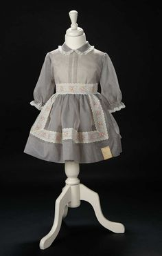 Love, Shirley Temple, Take Two: From Schoolgirl to Storybook: 329 Grey Sheer Nylon Best Dress with Flocked Floral Trim