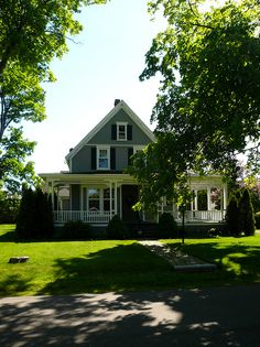 A lovely old grey house in town of Oxford Nova Scotia.  Photo by Kim Naumann