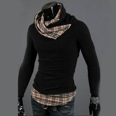 $18.17    Stylish High Collar Sweater Pullover Knitwear Top For Men Plaid