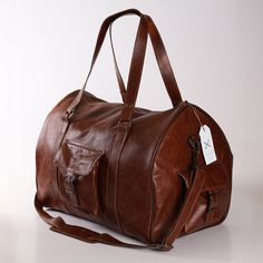 Tobacco Leather Mens Cabin Bag - Bags