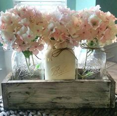 Rustic mason jar and wood box table centerpiece wedding for Room decor ideas with mason jars