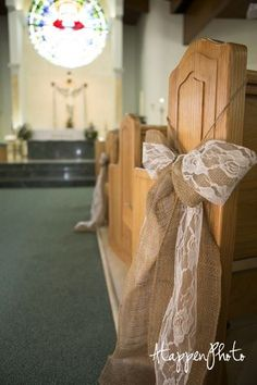 This might be a less expensive idea for pew decor - change colors to your own?  ...instead of burlap, use tulle or ribbon in my colors