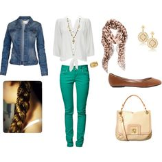 Green skinny jeans outfit by laurel-dantes on Polyvore featuring Wallis, Fat Face, LTB by Little Big, Steve Madden, Orla Kiely, LK Designs, R.J. Graziano, Alexander McQueen, Liz Palacios and ballet flats