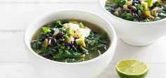 Serves 6   3 tbsp olive oil 1 onion, diced 3 cloves garlic, chopped 1 green capsicum, seeds removed, finely diced 1 tbsp ground cumin ½ tsp ground coriander  ½ tsp ground allspice 2 cups dried black beans, soaked overnight in cold water 2 bay leaves 2 litres low-sodium vegetable or chicken stock 10 stems kale, washed