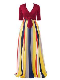 Half Sleeve Striped V Neck Women's Maxi #Dress