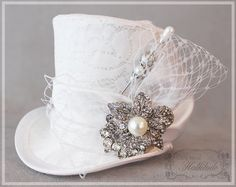 Wedding Hat Bridal Mini Top Hat Tea Party by LittleMissHattitude wedding aesthetic Your place to buy and sell all things handmade Wedding Hats, Wedding Veils, Trendy Wedding, Wedding Dresses, Hats For Short Hair, Tea Party Hats, Tea Parties, Best Wedding Colors, Crochet Hat For Women