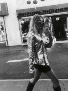 Sequin shirt sidewalk street style