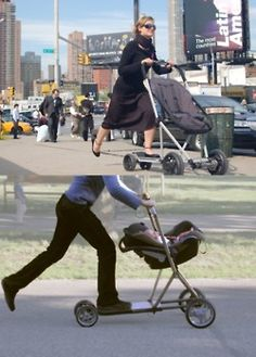 Scooter/stroller!! I would NEVER!!!!!! lol think of all the bumps and cracks in the side walk lol baby goes flying as you fall and skin your face. No.