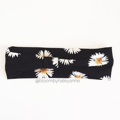 Daisy head wrap black white and yellow wide by Bloombyhaleyanne