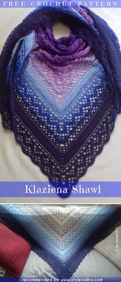 Klaziena Crochet Shawl Free Pattern Crochet → Shawl | Written | US Terms Level: upper beginner hook: 3.5mm Yarn Scheepjes Whirl author: Kirsten Bishop #crochetfreepatternsforlady #crochetfreepatternforvest #crochetfreepatternfortunic #crochetscarf #crochetfreepattern #crochetshawl