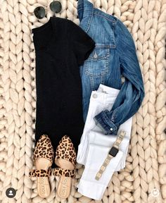 686d8a088aa7b White jeans, denim jacket, leopard print flats, plain black T-shirt, and  smart watch. Casual day outfit for spring or summer