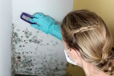 If you do see mildew growing in your home, brush the object to remove surface mildew and vacuum to remove loose mold. Sponge or wash remaining mildew with detergent and dry thoroughly. Cleaning Mold, Diy Cleaning Products, Cleaning Hacks, How To Kill Mold, Fee Du Logis, Mold Prevention, Get Rid Of Mold, Ponds Backyard, Mold And Mildew