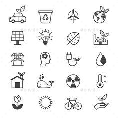 Eco Energy and Environment Icons Line — Vector EPS #air #drop • Available here → https://graphicriver.net/item/eco-energy-and-environment-icons-line/15868008?ref=pxcr