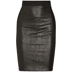 Mason by Michelle Mason Snake-effect leather and ponte pencil skirt ($545) ❤ liked on Polyvore featuring skirts, bottoms, saias, pencil skirt, faldas, leather pencil skirt, elastic waist pencil skirt, black knee length skirt, black knee length pencil skirt and zipper pencil skirt