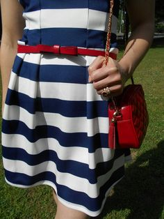 Striped dress: Eliza J (also love this   and this ), Gingham sandals: Betsey Johnson , Bow belt: Kate Spade, Red bag...