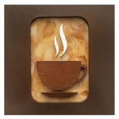 Quadro de decoração de cozinha com desenho de xícara de café esculpido em relevo marrom, fundo mesclado, moldura marrom claro, mdf, pintura acrílica.  Medidas: L 30 cm x A 30 cm x C 2 cm - Peso: 1kg  3 meses de garantia. Acompanha furo para pendurar.    Quadro Xícara de Café Premium - Versão II -...