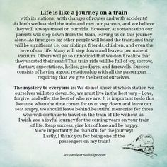 Lessons Learned in Life | Life is like a journey on a train.