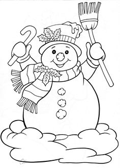 snowman for winter holiday Drawing template coloring embroidery etc