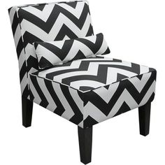Skyline Furniture Chevron Armless Chair - Black and White Meijer 299