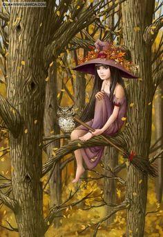 Waiting for Halloween Fantasy World, Fantasy Art, Fantasy Witch, Witch Pictures, Witch Pics, Witch Art, Owl Art, Halloween Art, Wiccan