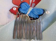 Butterfly hair comb  handmade hair accessory by ScreenGems333 on Etsy, $8.00
