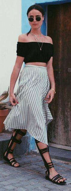 Striped Wrap Skirt #Fashionistas