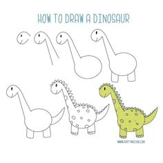 Time for a new drawing for the kids this cute Dino is a cool drawing for the little ones. What about some quiet time for you while they are drawing a dino? I know you are a busy mom and you need ideas to keep the small ones doing something creative. Easy Doodles Drawings, Easy Drawings For Kids, Simple Doodles, Art For Kids, Doodle Art Simple, Simple Animal Drawings, Drawing Lessons For Kids, Sketching For Kids, Drawing For Children