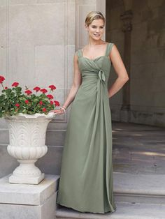 Olive Green Fairytale Thick Straps Zipper Chiffon Pleated ...