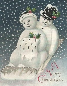 Vintage Snow Couple Christmas Card