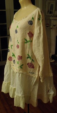 Upcycled 2X Linen/Muslin/Chenille Dress/Tunic/Patched/Ruffled/Valentines/Spring, 2016/